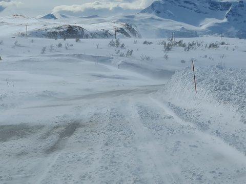 SNØDEKT: Midt i uken er det stor sannsynlighet for at nedbøren faller som snø på fjellovergangene. Dette bildet ble tatt på E10 Bjørnfjell 16. mai.