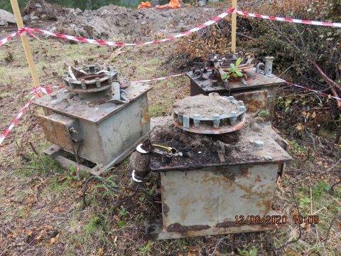 SPENNINGSTRAFOER: Dette er blant restene av den gamle Sørnes koblingsstasjon som ble funnet i Narvik under arbeidet med å fjerne noen fundamenter.