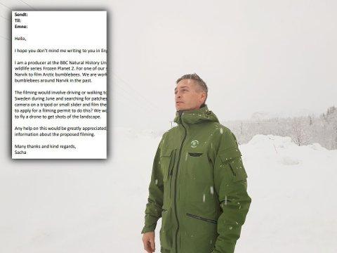 RÅDGIVER. Bertil Birkeland jobber som rådgiver i Narvik kommune. Han fikk denne henvendelsen fra BBC på sitt bord.