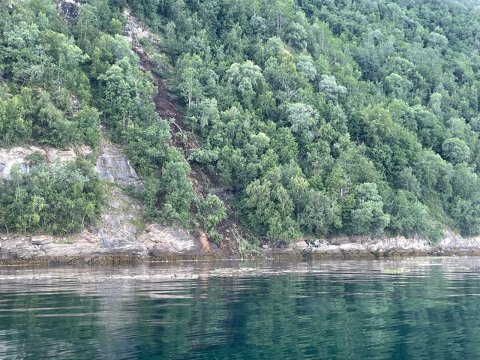 JORDSKRED: Onsdag kveld gikk det et jordskred på Veggfjellet.
