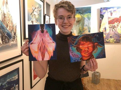FØLGER DRØMMEN: Den unge kunstneren Ellinor Moan Agersborg (20) jobber i sommer noen uker på Galleri My. Fra Narvik går reisen videre til kunststudier i Spania – et steg mot drømmen om å kunne livnære seg som bildende kunstner.
