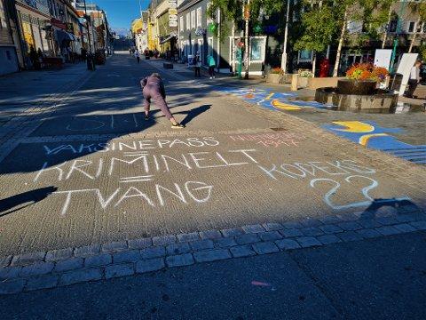 TVANG: Den politiske aktivitetsgruppen Kodeks 22 legger frem sin motstand mot vaksine i gågata i Tromsø sentrum.