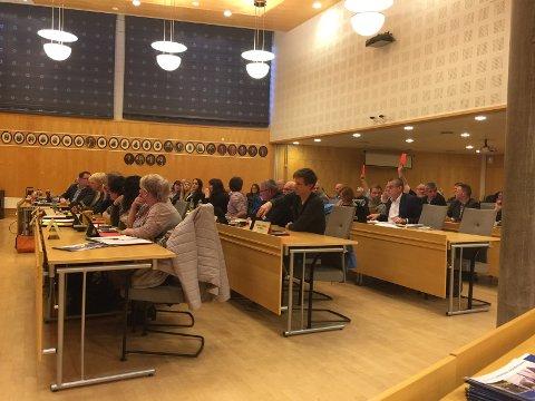RØDE STEMMER: Rødts representanter Terje Randem (t.h.) og Alf Henriksen (skjult) stemmer imot det brede flertallet om å starte dialog med Re kommune om en eventuell sammenslåing.