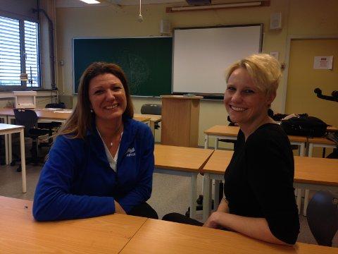 ENIGE: Gruppelederne Linn Fagerberg i Høyre og Maria Aasen-Svensrud i Ap er enige om at heldekkende hodeplagg ikke hlører hjemme i skolen i Horten.