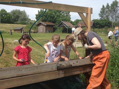 ARKEOLOGER: Deltakerne på sommerskolen fikk prøve seg som arkeologer, under kyndig veiledning av Kari Marie Helland.