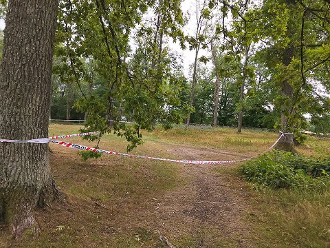 SPERRET: Det henger sperrebånd flere steder i og rundt Borreparken. I dette området har det ligget en usikret nåndgranat fra krigens dager.