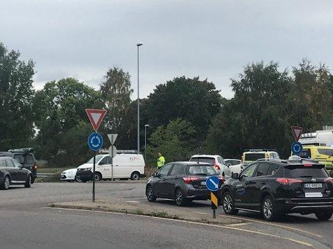 Trafikkulykken skapte kø på stedet.
