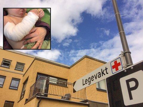 SKUFFET: Ekteparet Mikael Scott Bjerkeli og Jannicke Nygaard Bjerkeli fra Drammen fikk et ublidt møte med Horten legevakt i jula, da sønnen John Felix(1) fikk brannskader på armen.