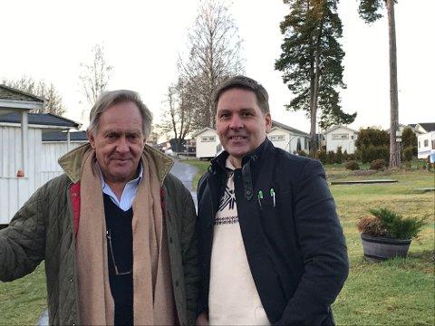 SAMARBEID. Styreleder i selskapet Topcamp AS, Thorstein Berg, her til venstre og sammen med Jon Mørk, ønsker nå et tett samarbeid med Horten kommune om utviklingen av området fra Rørestrand til Langgrunn.