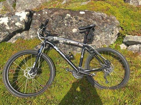 DÅRLIG VELKOMSTGAVE: Denne sykkelen ble stjålet fra en adresse i Storgata. Sykkelen har en design med stor logo, hvor det står PROFIL DESIGN. – Skygg banen om noen tilbyr den for salg, sier innflytter og sykkeleier Ernst Amundsen.