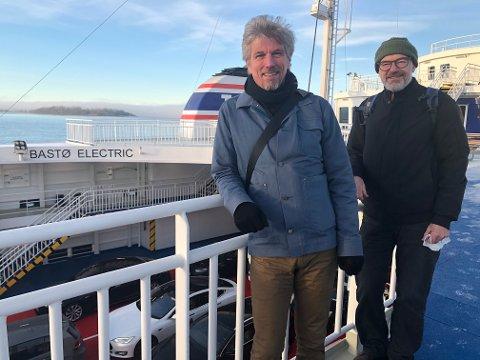 FØRSTE TUR: Svein-Erik Figved var med på den første elektriske ferjeturen mellom Horten og Moss sammen med MDGs talsperson innenfor energifeltet, Håkon Skatvedt.