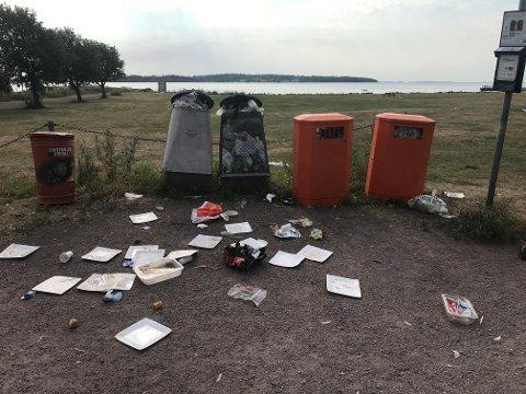 RØRESTRAND: Slik har Stig møtt søppelkassene på Rørestrand store deler av sommeren. Dette bildet er tatt mandag morgen.