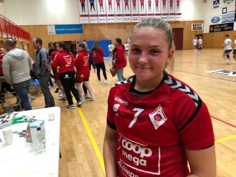 Angunn Gudmestad viste fram høyreslegga i kampen mot det tidligere eliteserielaget fra Kongsberg.