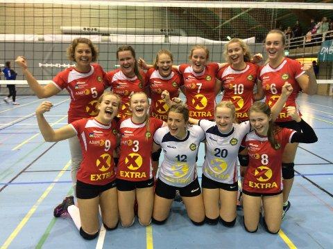 Så glade ble volleyballjentene fra Gjesdal idrettslag etter å ha vunnet bronsefinalen i helgens rankingturnering for 1. divisjonslag.