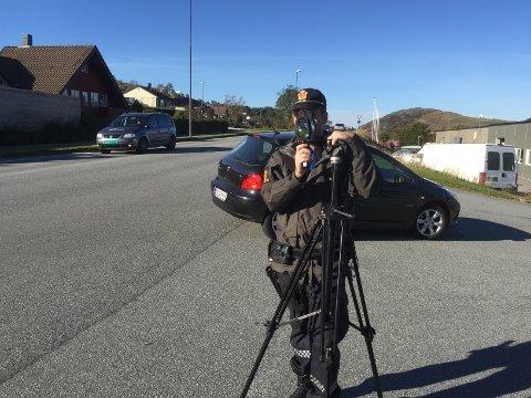 Politiet gjennomførte fartskontroll torsdag ettermiddag.