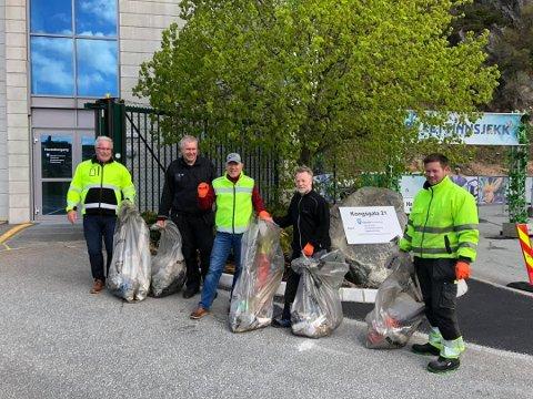 Kollegaane til Arild Volden var blant dei kommunalt tilsette som var ute og plukka søppel.