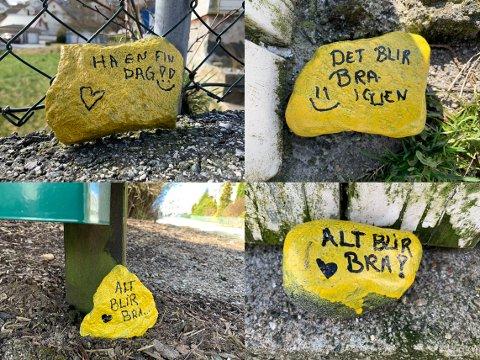 «Alt blir bra» er budskapet på disse steinene som ligger langs Berlandsveien på Ålgård.
