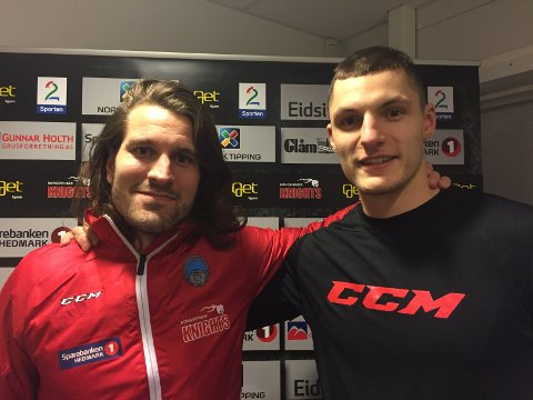 THE NEW GUY: Kaptein Timo Kuuluvainen (t.v) brølte etter «the new guy» Alex Vyhonskyda Glåmdalen skulle sjekke ut den nye signeringen onsdag.