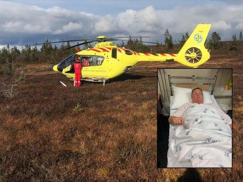 FANT LANDINSPLASS: Ambulansehelikopteret visste nøyaktig hvor Lena lå, og klarte å lande like ved før det fraktet henne til Elverum sykehus.