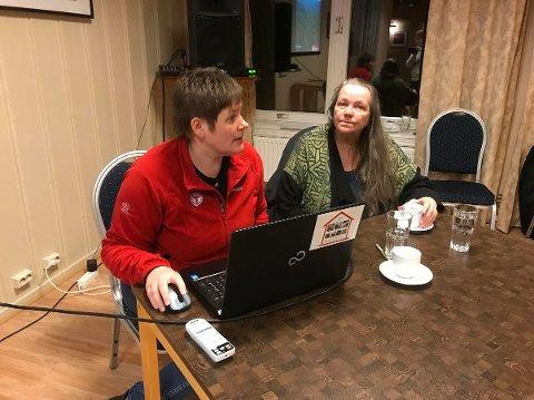 MOTSTANDERE: Lene Margrethe Sætaberget fra DNT Finnskogen og Snefrid Reutz-Håkenstad var med på møtet om vindraft i Våler.
