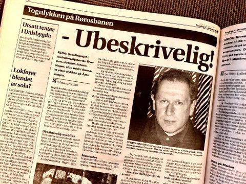 AVDELINGSSJEF: Alvdølen Johnny Hagen var avdelingssjef i Ambulansetjenesten i Elverum og ble intervjuet etter ulykka på Åsta stasjon for 20 år sia.