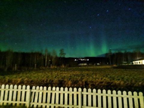 Jeg vil gjerne dele bilder av nordlys rett utenfor huset vårt på Roverud.