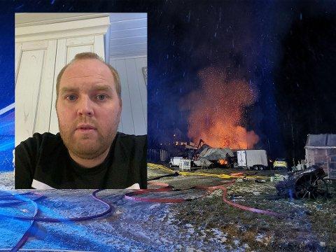 SJOKK: Henning Kristoffersen opplevde brann tett opp mot jul. 35 høner og kyllinger skal ha brent inne. I tillegg gikk også verktøy, ski, utstyr og en bil tapt i låvebrannen.