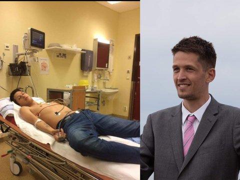 Even Dyve Fon. Til venstre er fra han ble hasteinnlagt på sykehuset.