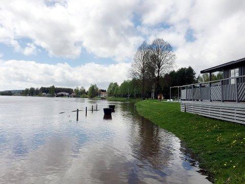 UTSATT: Sør-Odal kommune ønsker å være rustet for store vannmengder.  Slik så det ut ved Sanngrund i 2017. I 2018 var vannstanden enda høyere.