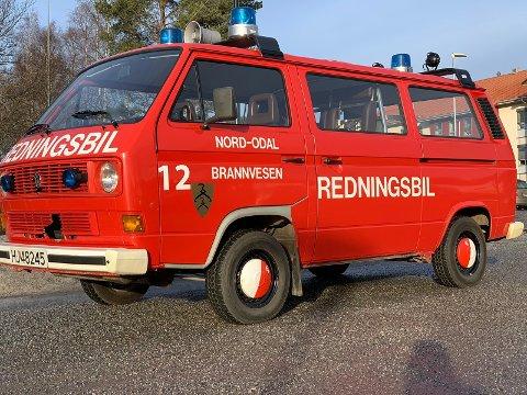 TIL SALGS: Den gamle brannbilen i Nord-Odal er til salgs.
