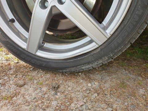Bilen til Rune Bjerke fikk skade på felgene etter dårlig veidekke på Øyungvegen