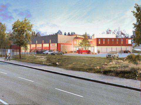 Slik tenkes det at den nye brannstasjonen skal se ut. Med en 2.970 kvadratmeter stor bygning, skal prosjektet etter planen stå ferdig i 2022.