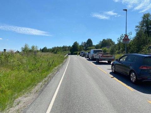 Glåmdalen fikk tips om lange køer langs Bæreiavegen i forbindelse med et omfattende asfaltarbeid på Bæreiavegen.