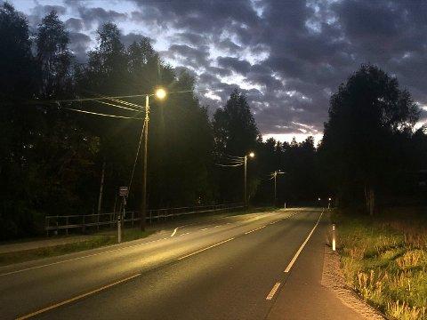 NYE GATELYS: Det blir nye gatelys på riksveg 2  i Heradsbygd.