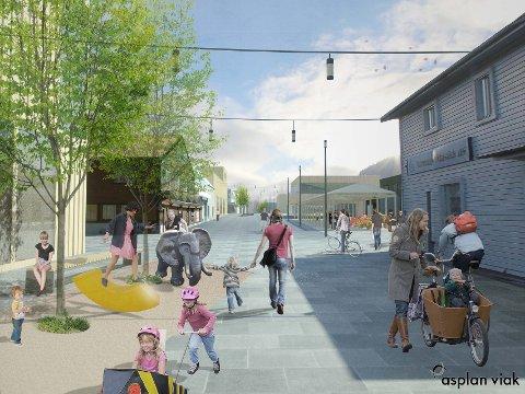 Dette er Johan Nygårdsgate i framtida, med Shelltomta lengst inn til høyre, slik arkitektene tenker det. Kanskje blir det slik om noen år på Otta.
