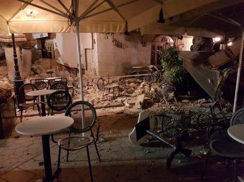 Store ødeleggelser på den greske øya Kos etter jordskjelv.