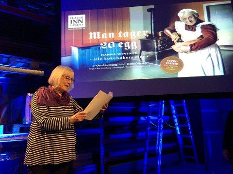 """Teater Innlandet Presentasjon av vårprogrammet 2018  Helle Ottesen i """"Man tager 20 egg"""" om Hanna Winsnes, alle kokebøkers mor"""