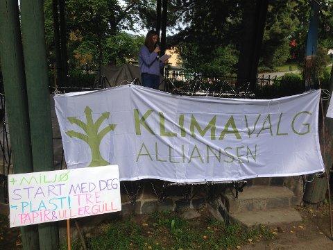 Styremedlem i Lillehammer Natur og Ungdom, Freia Catana Aasdalen holder appell i Lillehammer under Klimamarsj 2017