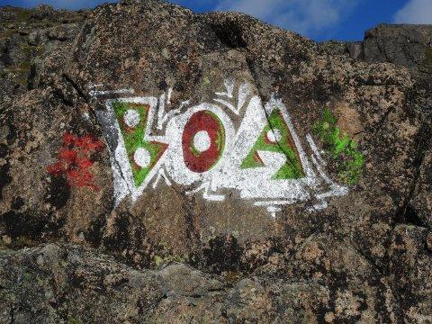 HÆRVERK: En større bergvegg på Bukkehåmåren ble tagget ned i sommer.