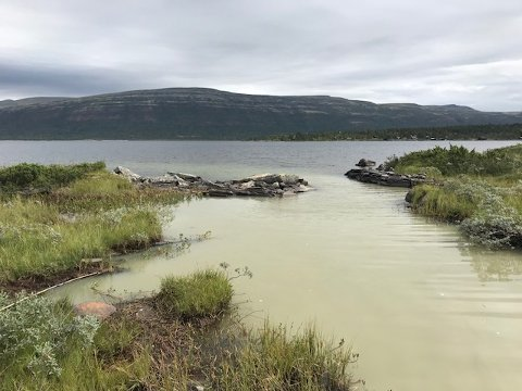 Hytteeiere på Kvamsfjellet har her tatt bilde av slam som siger ut i Furusjøen.