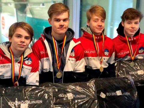 Lillehammer CKs juniorlag, som vant sin første internasjonale turneing i helga. Fra venstre: Tinius Haslev Nordbye, Grunde Morten Buraas, Lukas Høstmælingen og Magnus Lunde Lillebø.