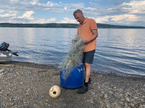 BEKYMRET: Leder i Mjøsa Fiskeforvaltning, Harald Jøranli, er redd for at dersom Fylkesmannen i Innlandet opphever pålegget om utsettelse av ørret i Mjøsa, kan det få store konsekvenser for hunderørreten. Foto: Eirin Skiaker