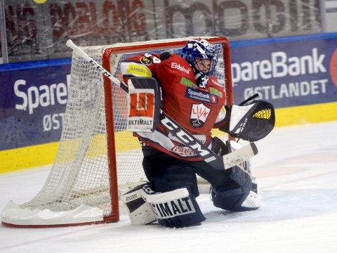 Målvakt Christoffer Bengtsberg gjorde nok en gang en god kamp mot Storhamar. Onsdag skal han feire ettårsdagen til sønnen Elliot.