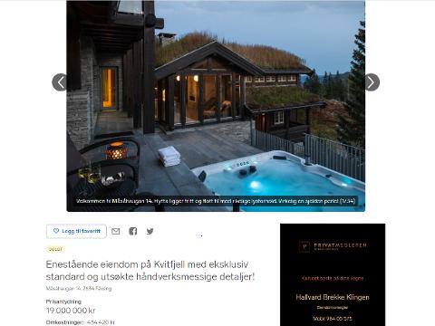 Denne hytta i Kvitfjell var til salgs for 19 mill. kroner. Nå er den solgt for 16 millioner 750 tusen.