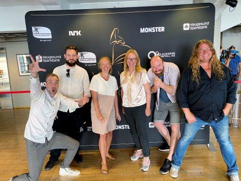 Denne gjengen er nominert til Amandapris for animasjonsfilmen «Kaptein Sabeltann og den magiske diamant»: F.v. regissør Rasmus A Sivertsen, VFX-fagsjef Henrik Dyrkorn, produsent Heidi Palm Sandberg, regissør Marit Moum Aune, produsent Eirik Smidesang Slåen og produsent Ove Heiborg.