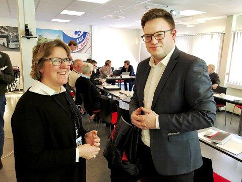 MÅLBILDE: Fylkesordfører Even A. Hagen og adm.dir. Alice Beathe Andersgaard i Sykehuset Innlandet balanserer sykehusplaner på stram line.