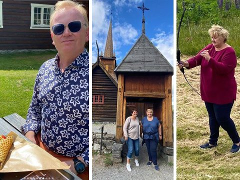 PÅ FERIE: Statsminister Erna Solberg og mannen har over de siste dagene vært på rundtur i Gudbrandsdalen.