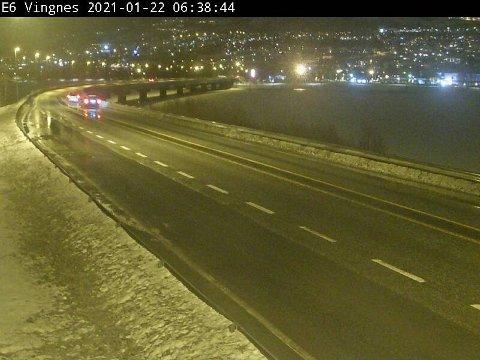 E6 ved Lillehammer fredag morgen.