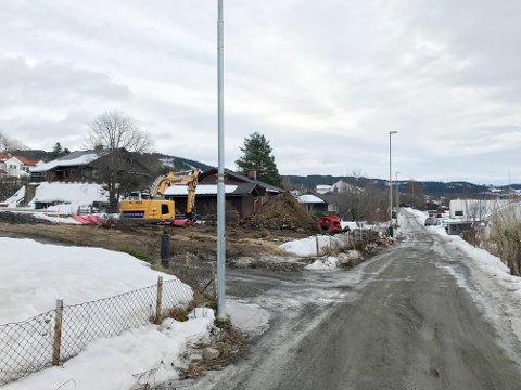 Anne Berit Hagen mener tungtrafikken sørfra ødelegger toppdekket i Gamlevegen. Hun mener lastebilene til og fra byggeplassen t.v. kan kjøre inn og ut via Hammersengvegen.