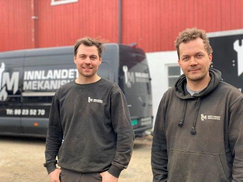 KOLLEGER: Einar Østby og Magnus Arnseth har sammen startet Innlandet Mekaniske AS.